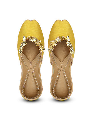 Yellow Handcrafted Dupion Silk and Leather Juttis with Sequins