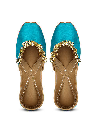 Blue Handcrafted Dupion Silk and Leather Juttis with Sequins