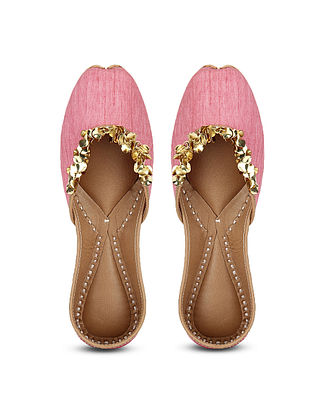 Pink Handcrafted Dupion Silk and Leather Juttis with Sequins