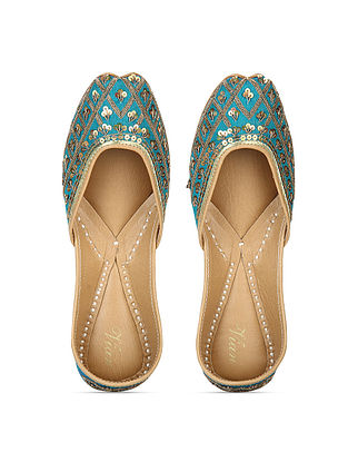 Turquoise Zari Embroidered Dupion Silk and Leather Juttis