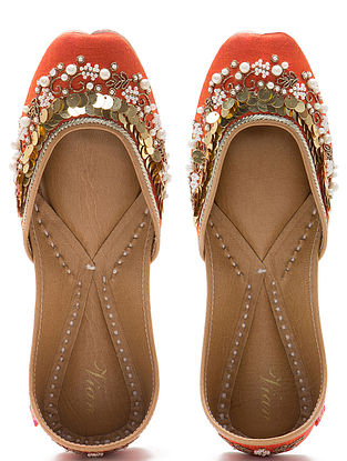 Orange Embroidered Dupion Silk and Leather Juttis with Sequins