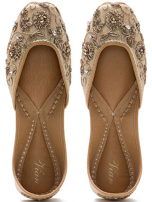 Cream Zardozi Hand-Embroidered Dupion Silk and Leather Juttis