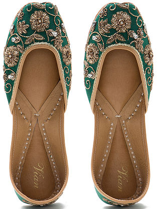 Green Zardozi Hand-Embroidered Dupion Silk and Leather Juttis