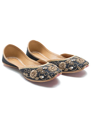 Black Zardozi Hand-Embroidered Dupion Silk and Leather Juttis