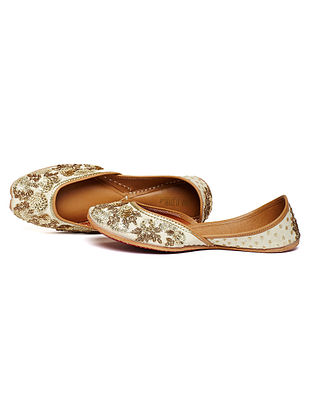 Cream Zari Embroidered Dupion Silk and Leather Juttis
