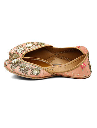 Pink Zari Embroidered Dupion Silk and Leather Juttis