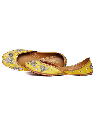 Yellow Zari Embroidered Dupion Silk and Leather Juttis