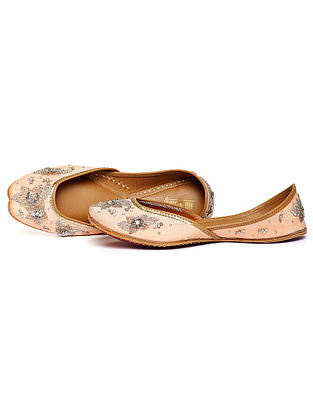 Powder Pink Zari Embroidered Dupion Silk and Leather Juttis
