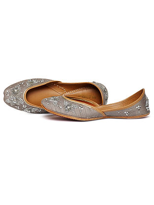 Grey Zari Embroidered Dupion Silk and Leather Juttis
