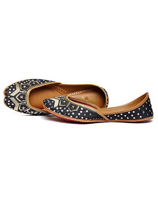 Black Zari Embroidered Dupion Silk and Leather Juttis