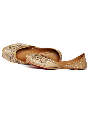Golden Zari Embroidered Dupion Silk and Leather Juttis