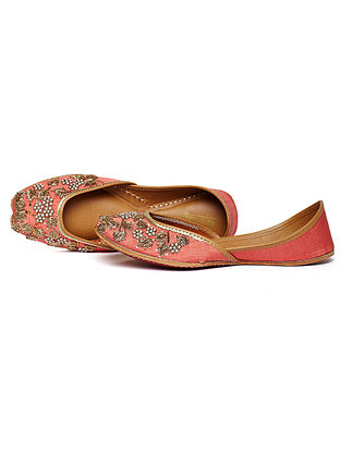 Coral Zari Embroidered Dupion Silk and Leather Juttis