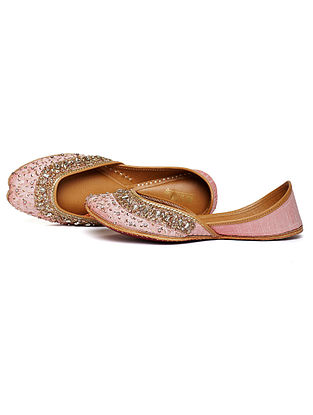 Blush Pink Embroidered Dupion Silk and Leather Juttis