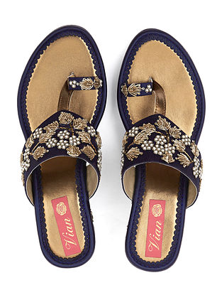 Blue-Gold Handcrafted Silk and Leather Embroidered Wedges