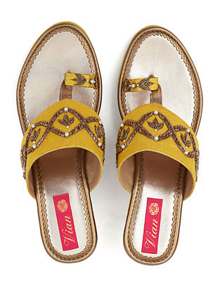 Yellow-Gold Handcrafted Silk and Leather Embroidered Wedges