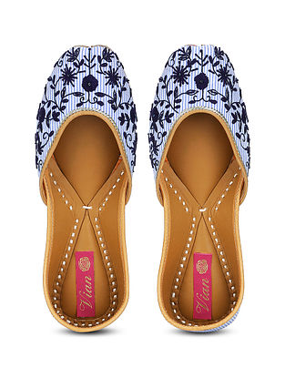 Blue-White Cotton and Leather Juttis with Resham and Zardosi Work