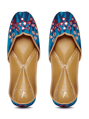 Blue-Red Ikat Juttis with Resham Zardosi and Mirror Work