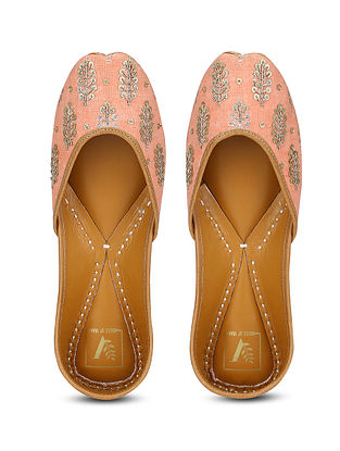 Peach Embroidered Chikankari Leather Juttis with Dabka Work