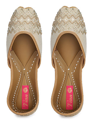 Beige Gold Hand Embroidered Dupion Silk and Leather Juttis
