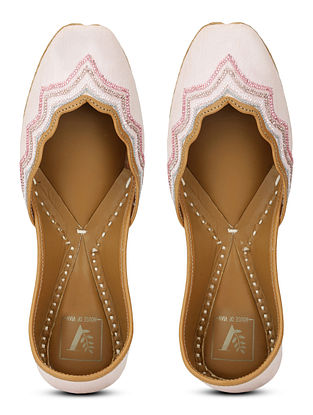Blush Pink Hand Embroidered Cotton Silk and Leather Juttis