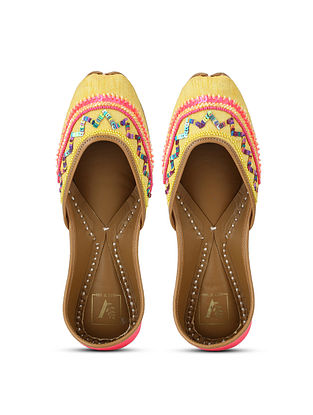 Yellow Pink Hand Embroidered Cotton Silk and Leather Juttis