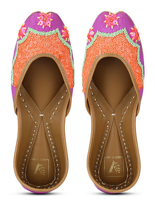 Purple Orange Hand Embroidered Dupion Silk and Leather Juttis