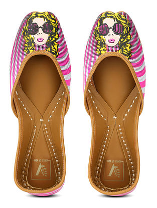 Multicolored Screen Printed Satin and Leather Juttis