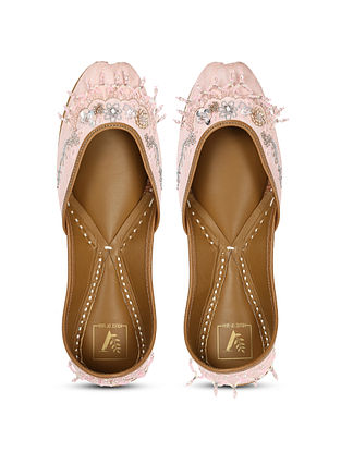 Powder Pink Embellished Dupion Silk and Leather Juttis with Beads and Sequins