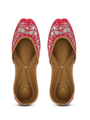 Rose Pink Embellished Silk and Leather Juttis with Zardosi Work