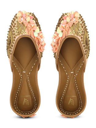 Peach Gold Embellished Dupion Silk and Leather Juttis with Beads
