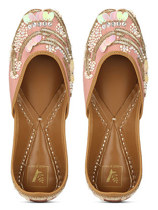Pink Embellished Crepe and Leather Juttis with Beads and Sequins