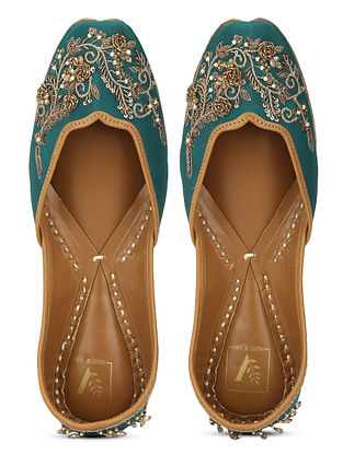 Green Gold Embellished Dupion Silk and Leather Juttis with Zardosi Work