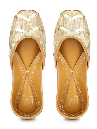 Gold Embellished Shimmer Silk and Leather Juttis with Sequins