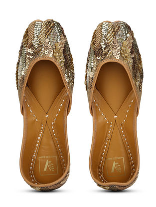 Gold Embellished Dupion Silk and Leather Juttis with Beads and Sequins