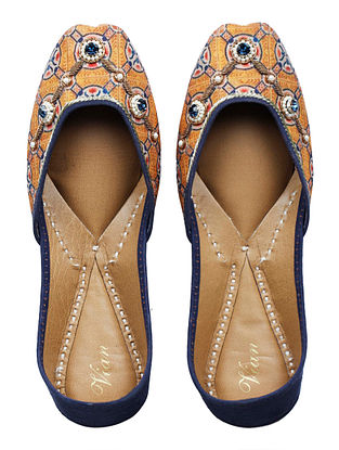 Noor-E-Alam Hand-embroidered Mustard-Blue Silk and Leather Juttis