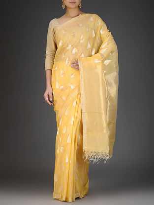 Yellow Silk Linen Saree