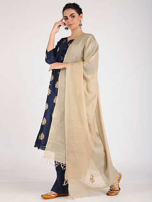 Beige Handloom Silk-Cotton Dupatta with Mukaish