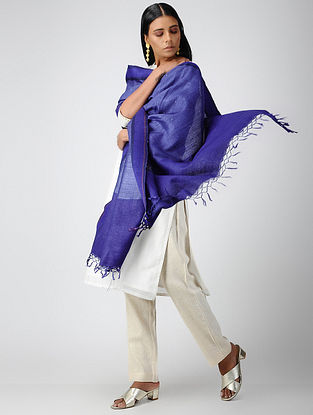 Blue Silk Dupatta with Mukaish
