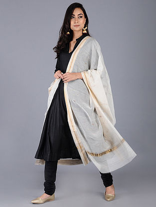 Ivory Cotton Silk Dupatta with Mukaish and zari border