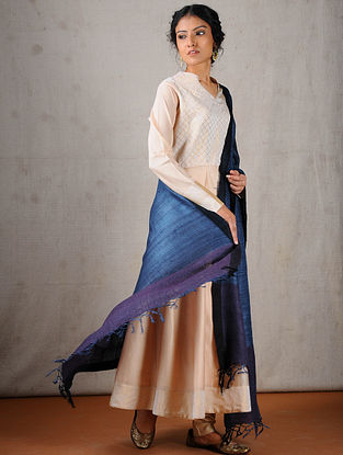 Blue Tussar Silk Dupatta with Mukaish