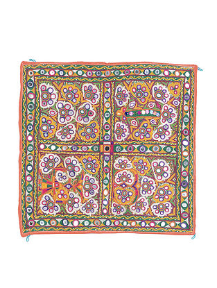 Vintage Yellow-Multicolor Thread-embroidered Cotton Wall Art with Mirror Work