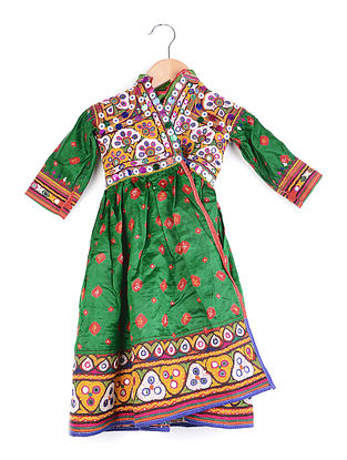 Vintage Green-Multicolor Thread-embroidered Satin Kurta with Mirror Work