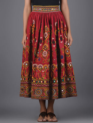 Vintage Red-Multicolor Thread-embroidered Cotton Skirt with Mirror Work