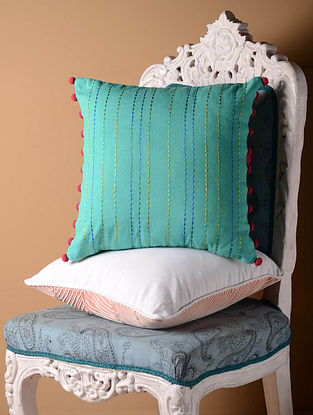Blue Solid Rice Stitch Cushion Cover  16in x 16in