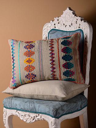 Grey Kilim Folk Cushion Cover  20.5in x 14in