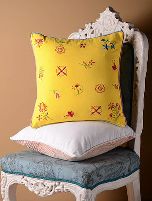 Yellow Shabby Chic Cushion Cover  16in x 16in