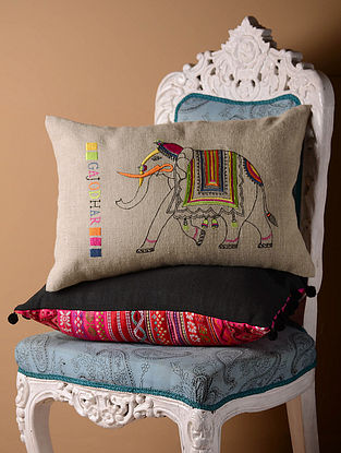Grey Gajodhar Flock Cushion Cover  21in x 14in