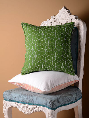 Green Jali Cushion Cover  16in x 16in