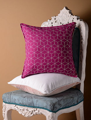 Pink Jali Cushion Cover  16in x 16in