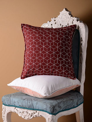 Red Jali Cushion Cover  16in x 16in